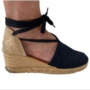 VTG Denim Espadrille Wedge Closed-Toe Ankle Wrap